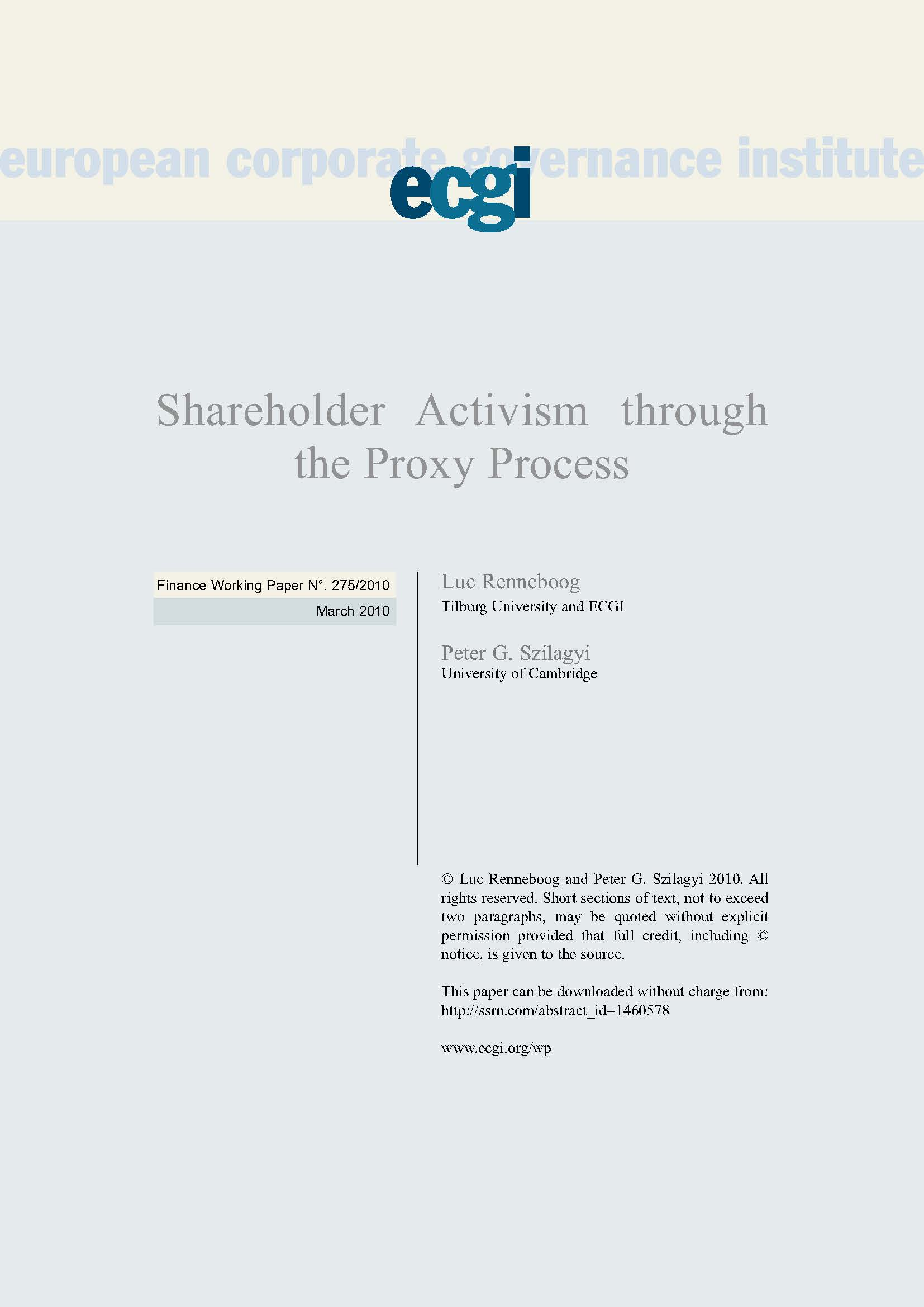 Shareholder Activism through the Proxy Process | ECGI