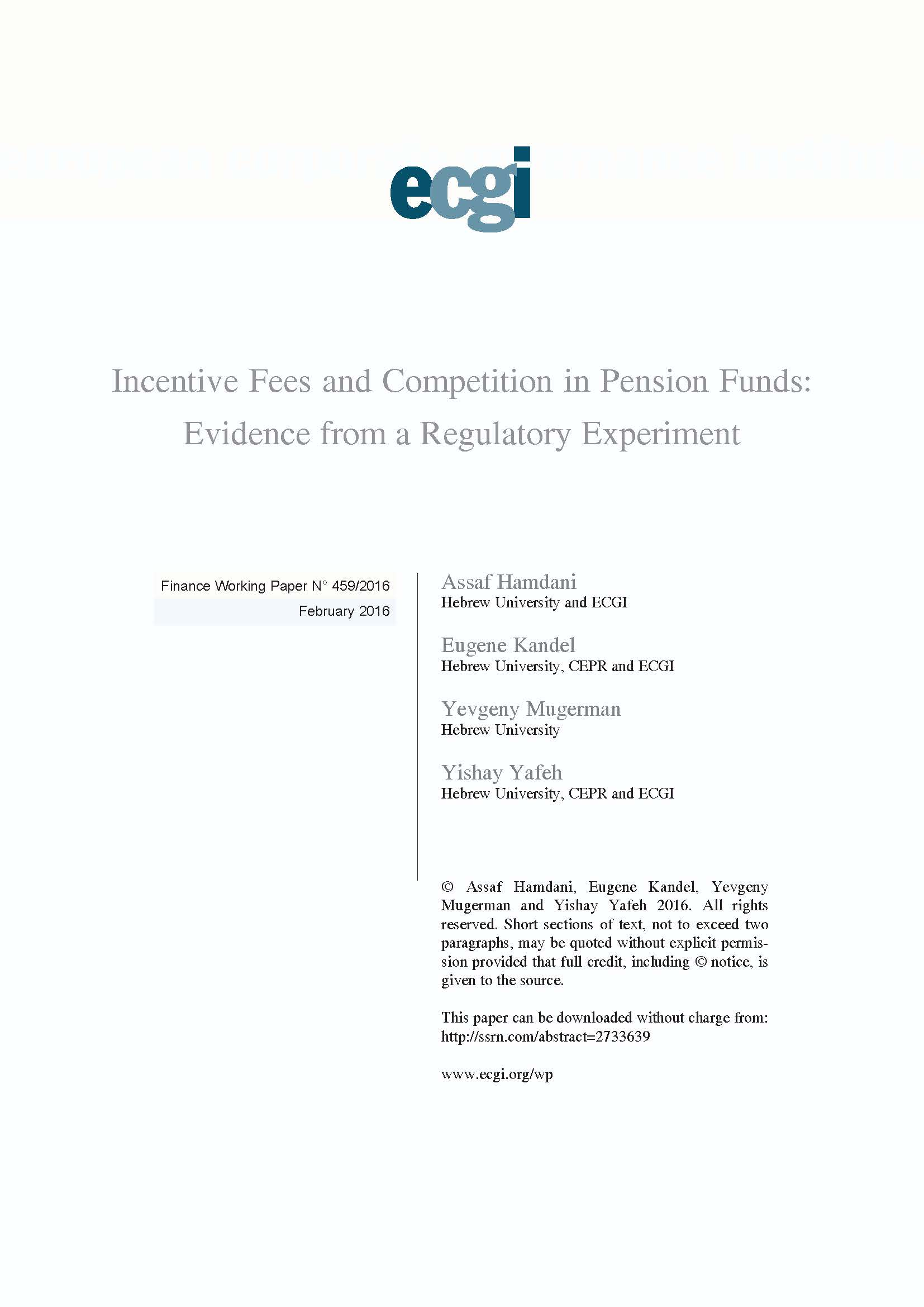 Thomas organ company pension - Incentive Fees And Competition In Pension Funds Evidence From A Regulatory Experiment