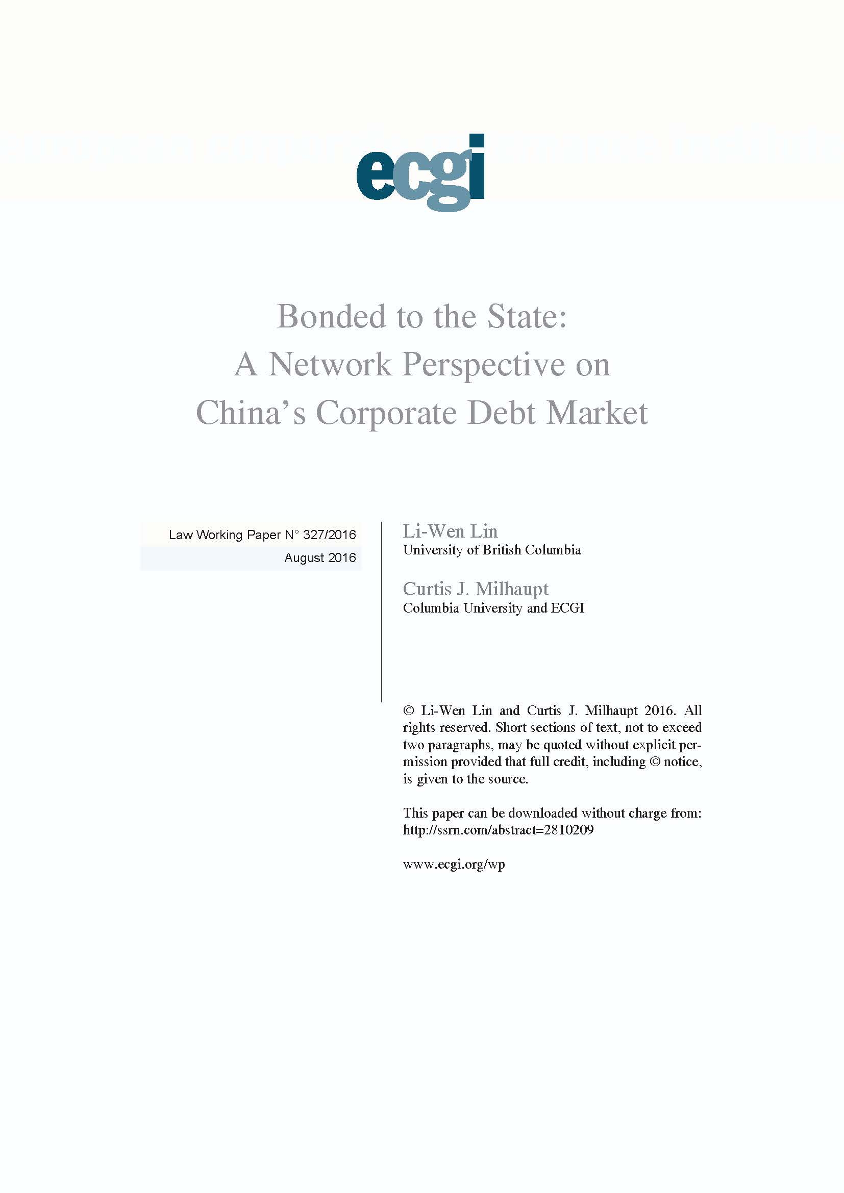 Bonded to the State: A Network Perspective on China?s Corporate Debt